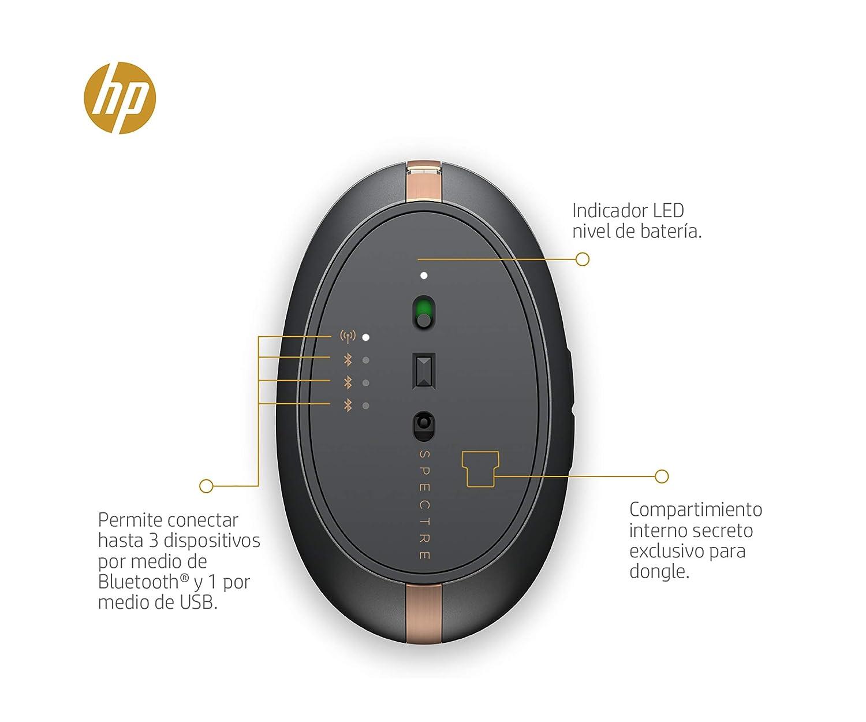 HP Spectre 700 - Ratón Recargable (Bluetooth, 1600 dpi, Desplazamiento en 4 direcciones, 11 semanas batería), Color Cobre: Amazon.es: Informática