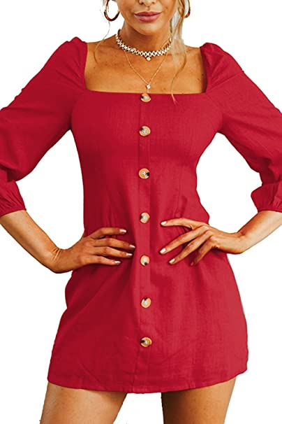 eba55ae40d Boosouly Women s Casual Square Neck Long Sleeve Low Back Button Down Mini  Dress at Amazon Women s Clothing store