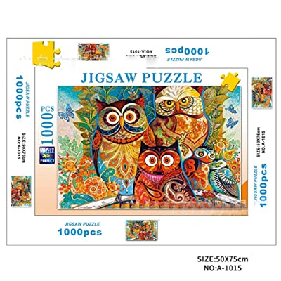 DDKK Puzzles for Adults 1000 Piece, Oil Painting Pattern Beautiful Landscape Jigsaw Puzzle for Home Games Unique Home Decorations and Gifts (owl): Toys & Games [5Bkhe0401197]