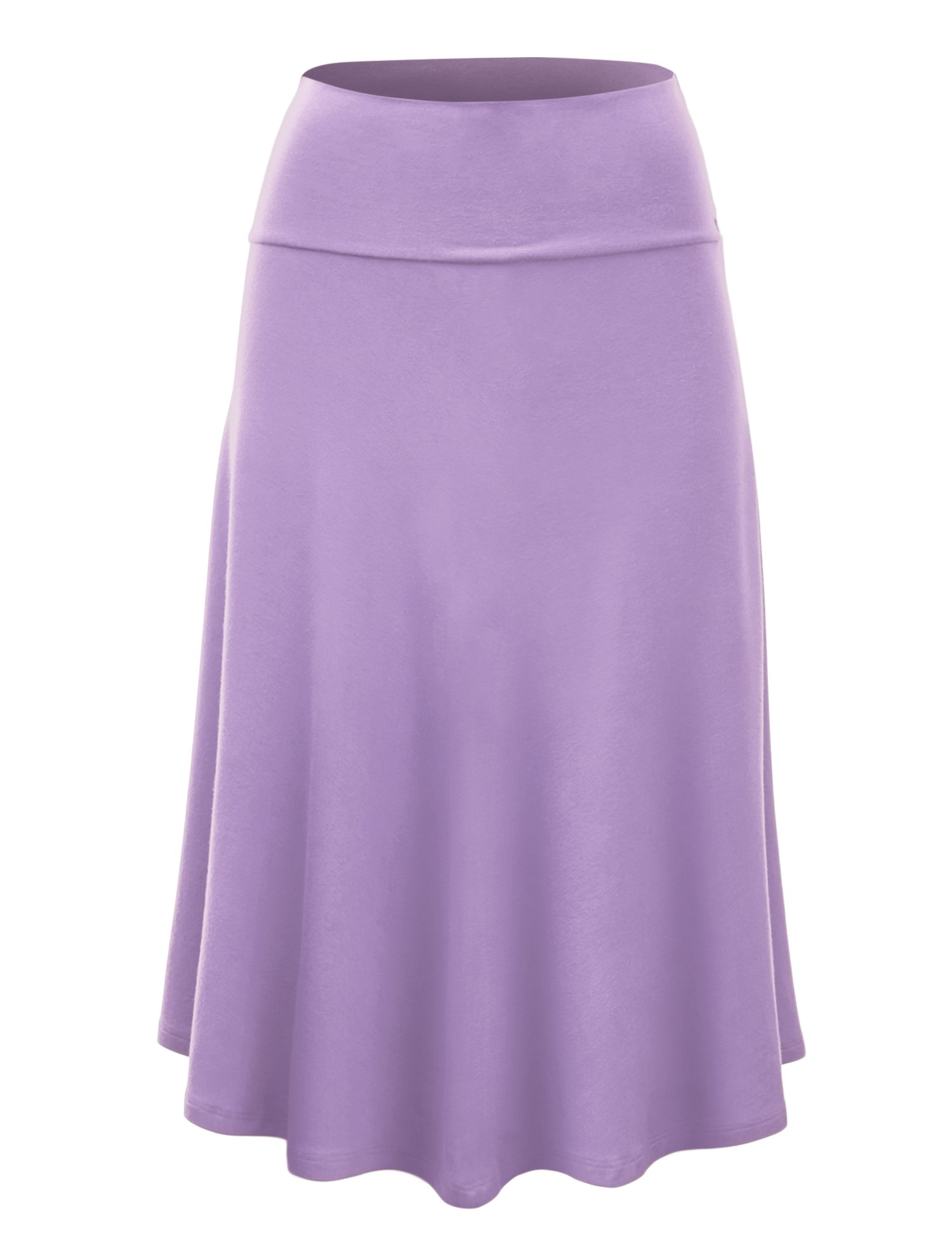Lock and Love WB1105 Womens Lightweight Fold Over Flared Midi Skirt L Lilac