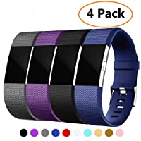 Vitty 4 Pack Fitbit Charge 2 Strap for Women and Men, Charge 2 Bands Adjustable Replacement Silicone Sport Wristband for Fitbit Charge 2