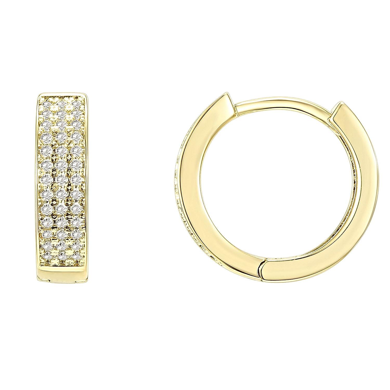 PAVOI 14K Gold Plated Cubic Zirconia Huggie Small Hoop Earrings | Stud Earrings for Women