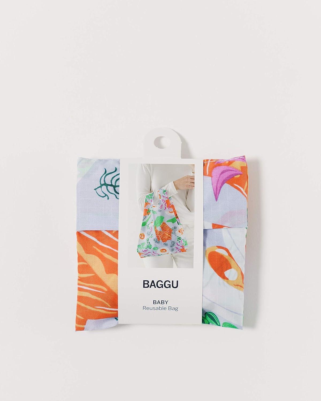 Big Check Blue BAGGU Small Reusable Shopping Bag Ripstop Nylon Grocery Tote or Lunch Bag