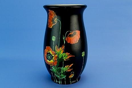 Amazon Black Art Deco Red Poppies Vase Crown Ducal English