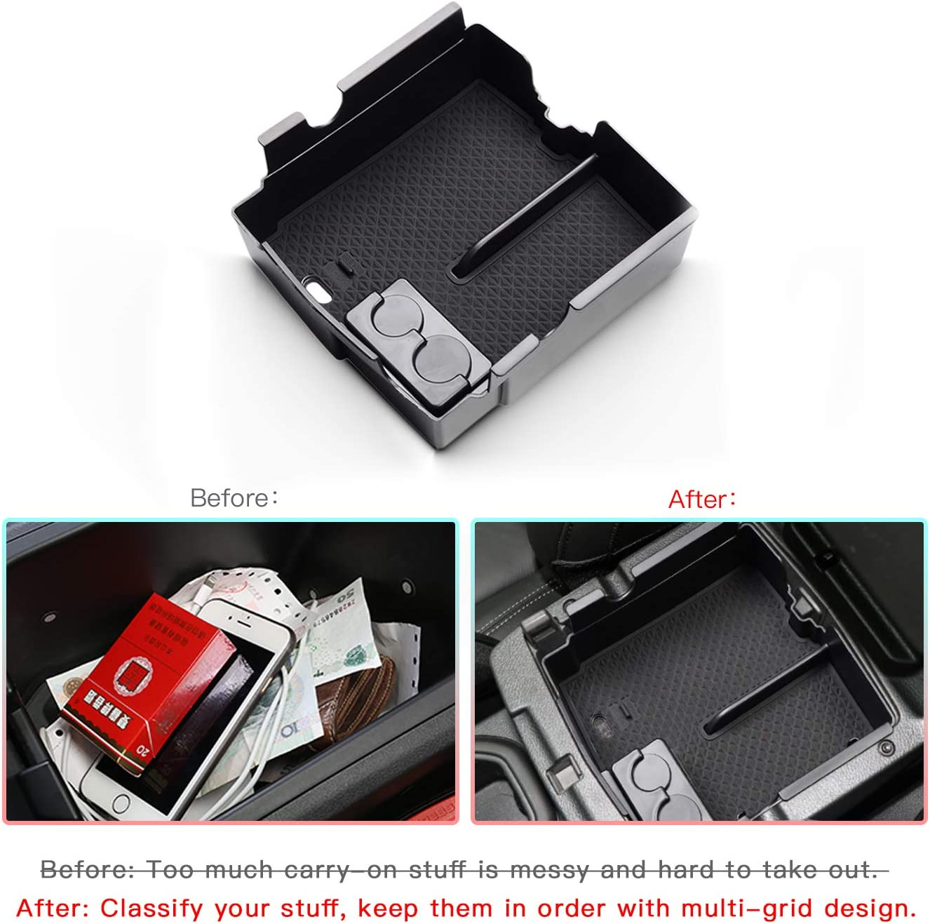 Upgraded Car Center Console Organizer Tray Secondary Storage Box for 2018 2019 2020 Wrangler JL and 2020 Gladiator JT Armrest Box Change and Coin Container Black CDEFG