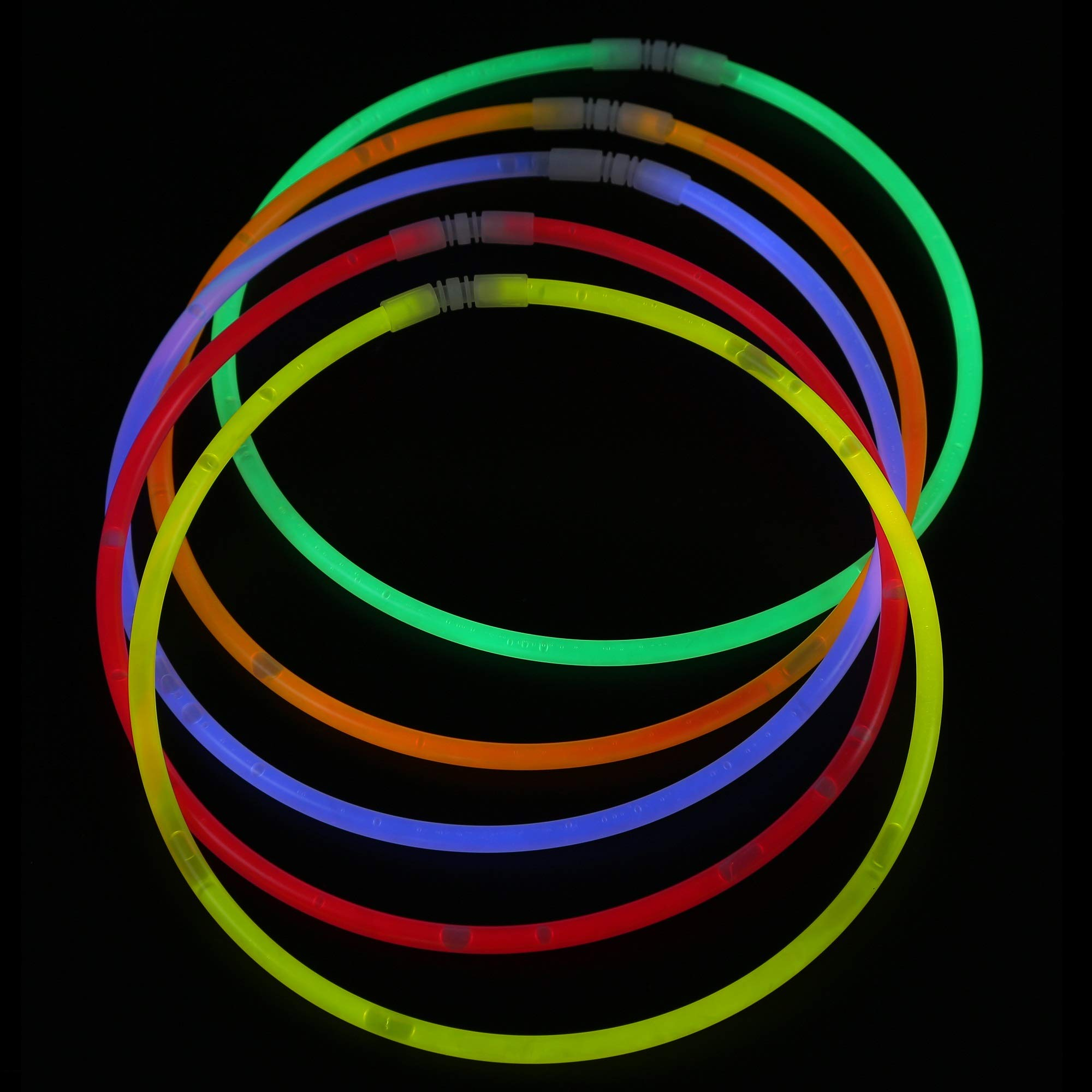 Fun Central J6 100 Counts 22'' Premium Glow Stick Necklaces, Glow Necklaces Bulk-for Glow in the Dark Party, Birthday, Christmas, Concerts, Anniversary - Assorted Colors