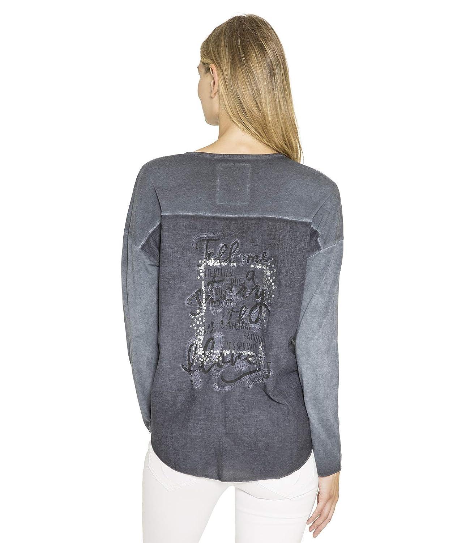 SOCCX Damen Serafino-Shirt mit Back Artwork