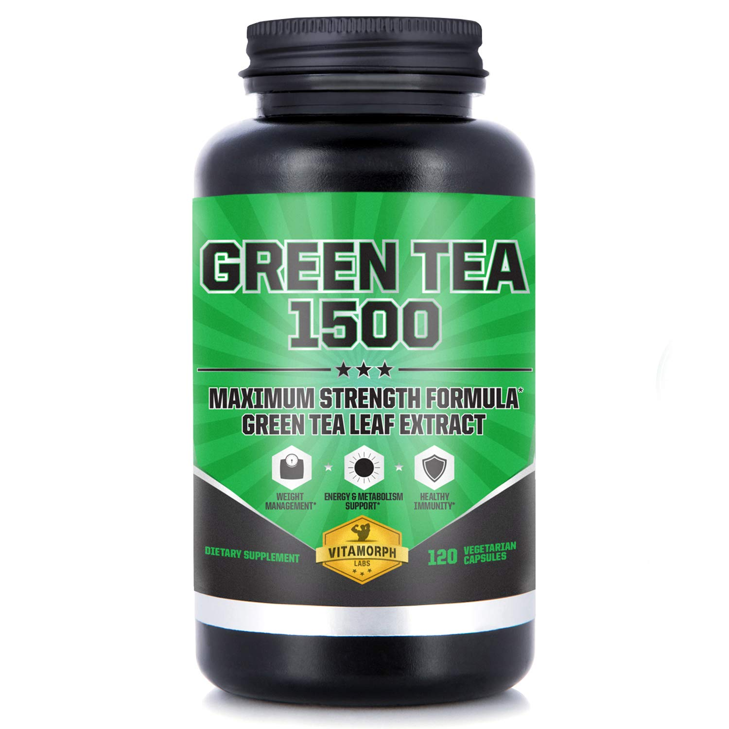 Green Tea 1500 - Egcg Green Tea Extract Supplement, Maximum Strength Egcg Green Tea Extract Capsules for a Metabolism Boost and Daily Energy by Vitamorph Labs - 120 Vegetarian Capsules by Vitamorph Labs