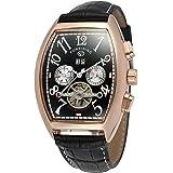 GuTe出品 腕時計 メンズ 自動巻き トゥールビョン 風 シリコンバンド 日付 曜日 カレンダー ビッグ 機械式 ブラック