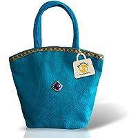 HandCraft Reusable Jute Lunch Bag | Multipurpose |Girls Jute Bag with Zip