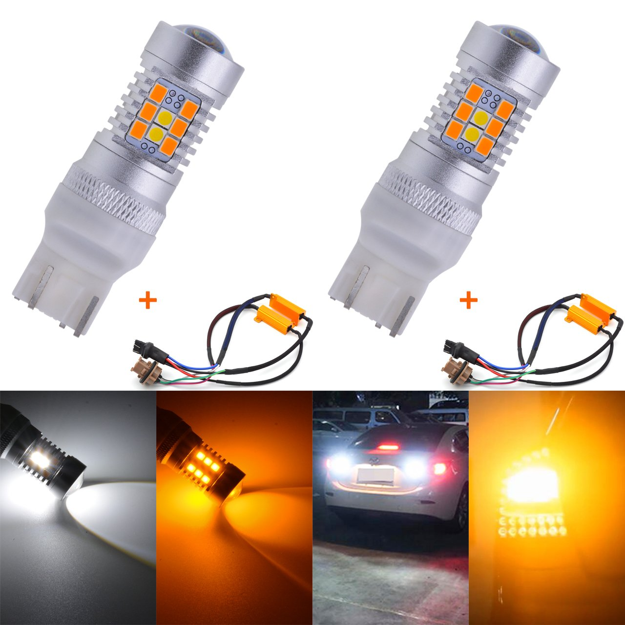 TUINCYN 7443 7444NA 7440 7440NA 7441 992 CANBUS Error Free LED Switchback Turn Signals Led Light Bulb Super Bright White/Amber Dual Color Brake Light with 50W 8 ohm 7443 Led Load Resistors(2-Pack)