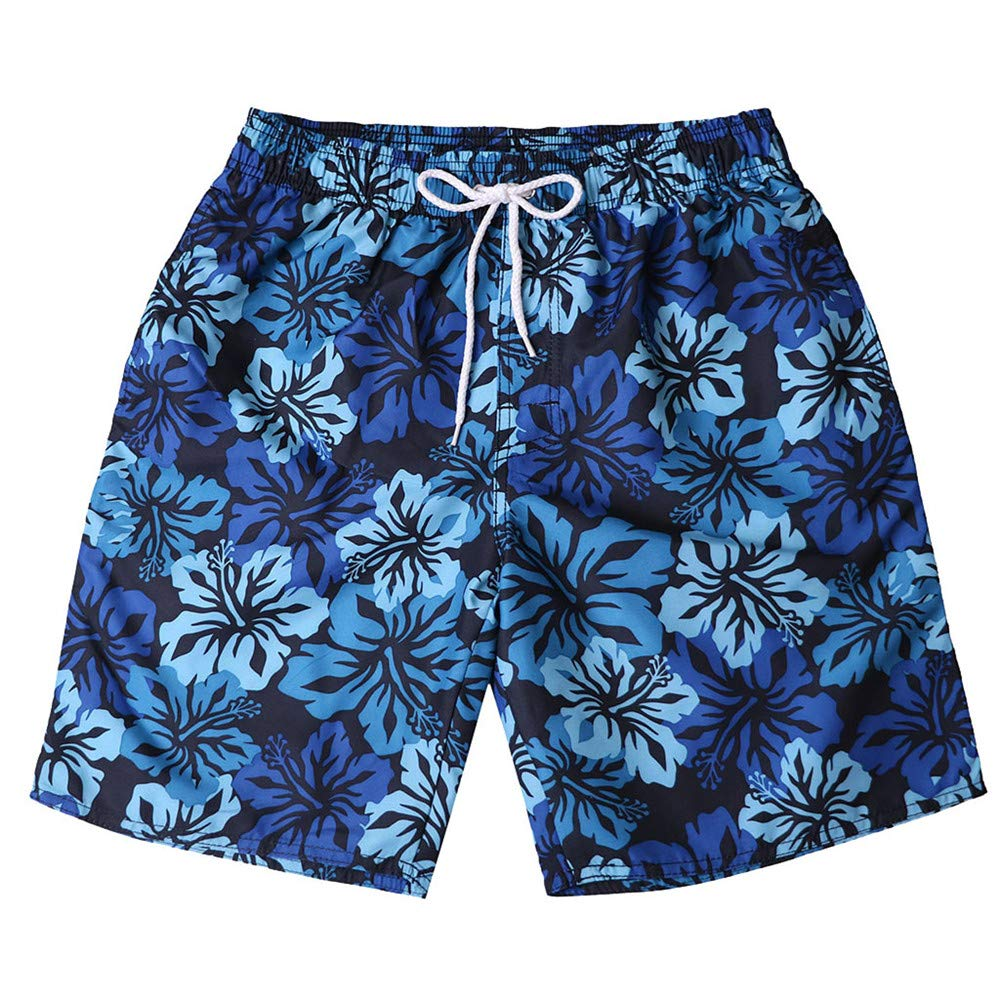 Board Shorts with Pockets,Men's Striped Swim Trunks Quick Dry Surfing Running Beach Shorts Dark Blue by Cathalem_Men's Swim Trunks (Image #1)