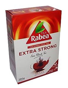 RABEA Extra Strong Black Tea Teas Indian Kenyan Organic Traditional Arabic Arabian Saudi Arabia Strong Rich Pure Oriental Natural Taste Breakfast ( 200 gm ) شاي ربيع الأقوى فرط حبيبات