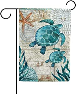 My Daily Sea Turtle Vintage Double Sided House Flag 28 x 40 inch Marine Theme Decorative Yard Flag for Outdoor
