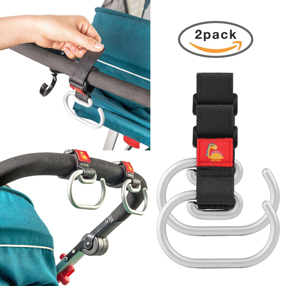 Stroller Hooks for Diaper Organizer, Great Strength Shopping Bags Carrier, 2 of Set by YIIGO (Image #1)