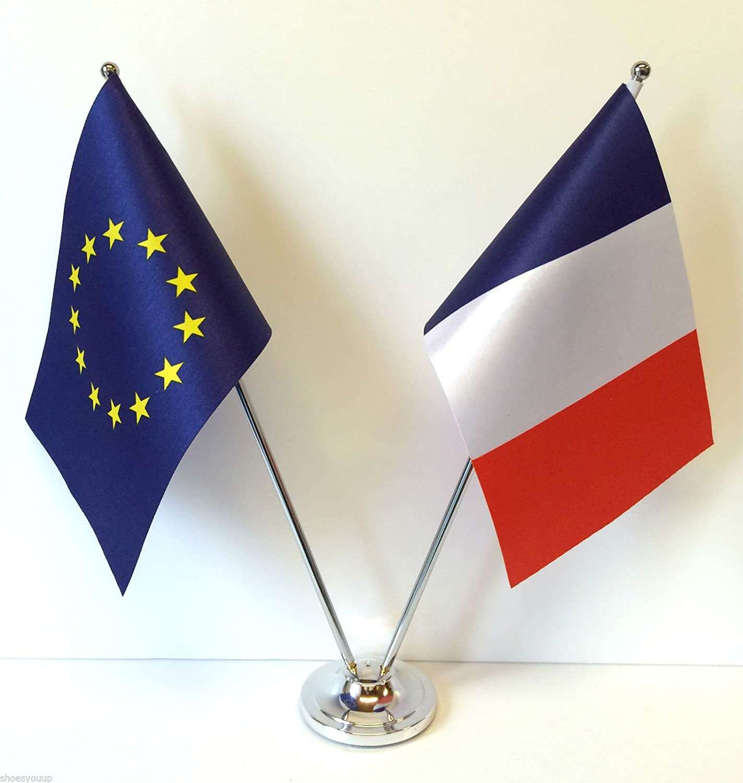Unión europea para Reino Unido y Francia Diseño de banderas de países cromo y de escritorio juego de banderines: Amazon.es: Hogar