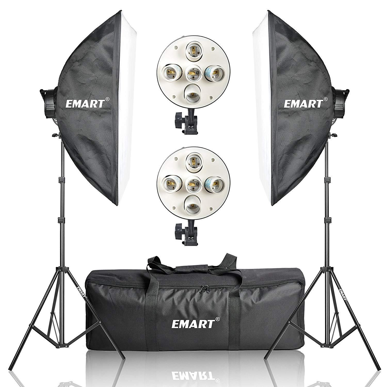 Emart Softbox Photography Lighting Kit,2250 Watt Continute Lighting Photo Studio Softbox 20'' x 28'', 10pcs E27 Video Lighting Bulb by EMART