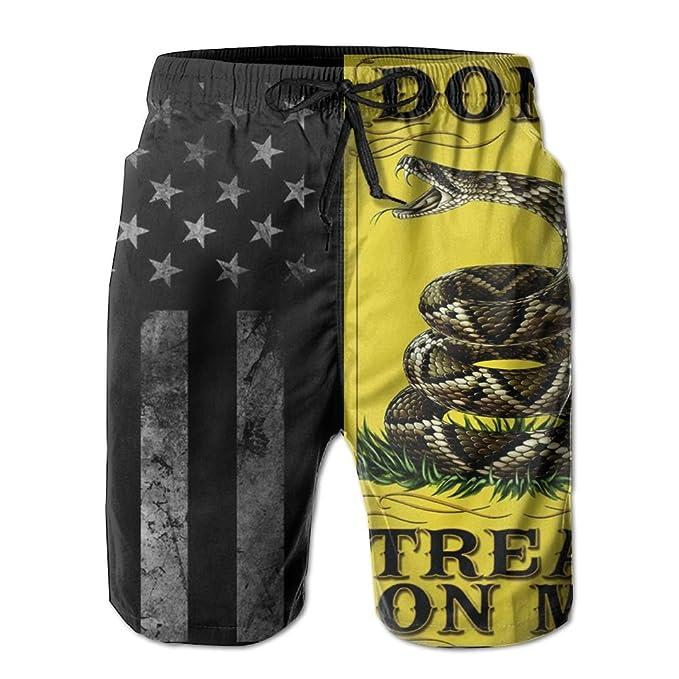 02e94682ca5dc American Flag and Don't Tread On Me Men's Board Shorts Swim Trunks Beach  Short | Amazon.com