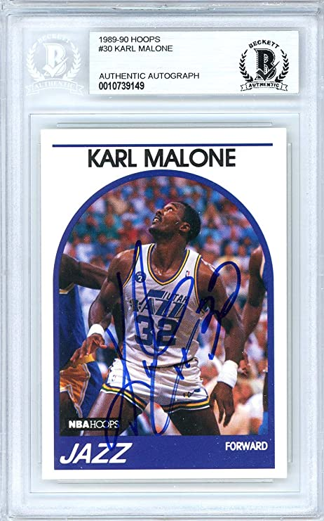 337eef97b Karl Malone Autographed 1989-90 Hoops Card Autographed  30 Utah Jazz -  Beckett Authentic