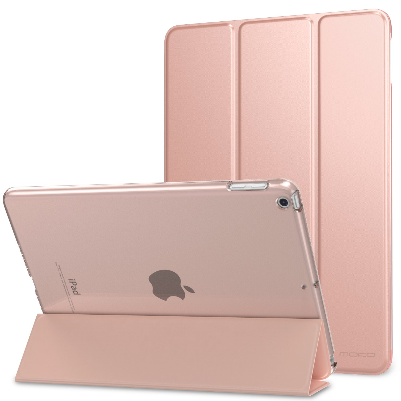 Moko Case iPad 9.7 2018/2017 - Slim Lightweight Smart Shell Stand Cover Translucent Frosted Back Protector Apple iPad 9.7 inch (iPad 5, iPad 6), Rose Gold (Auto Wake/Sleep)