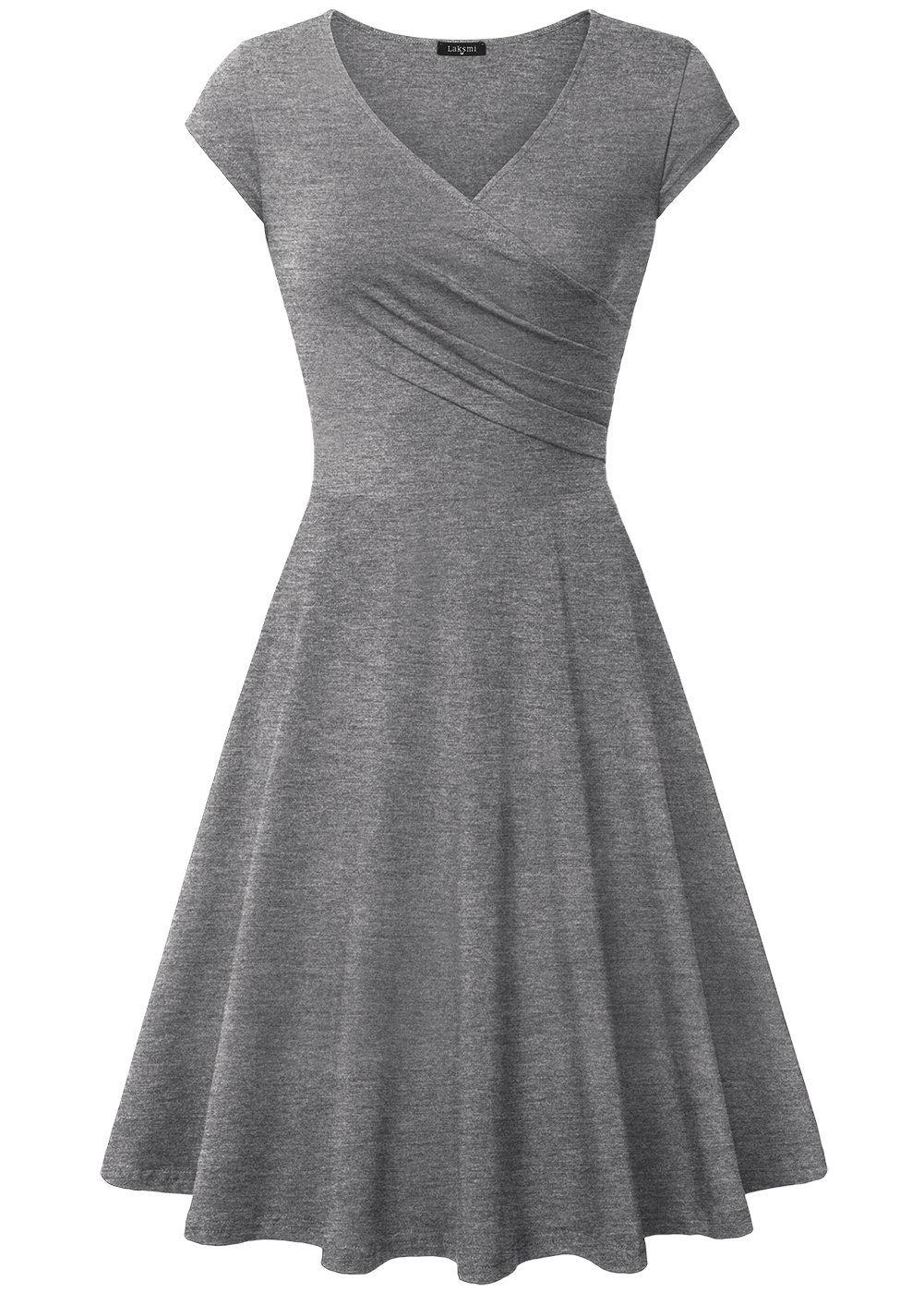 Laksmi Cocktail Dresses, Women's V Neck Urban Homecoming Informal Casual Dress,X-Large Dark Grey