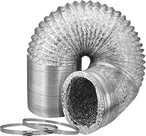 iPower 4 Inch 8 Feet Non-Insulated Flex Air Aluminum Ducting Dryer Vent Hose for HVAC Ventilation 2 Pack 4 Clamps Included