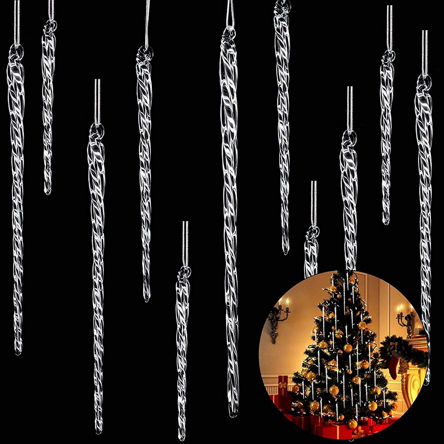 """3.5-5.5/"""" Box Set of 24 Clear Twisted Glass Icicle Christmas Ornaments"""