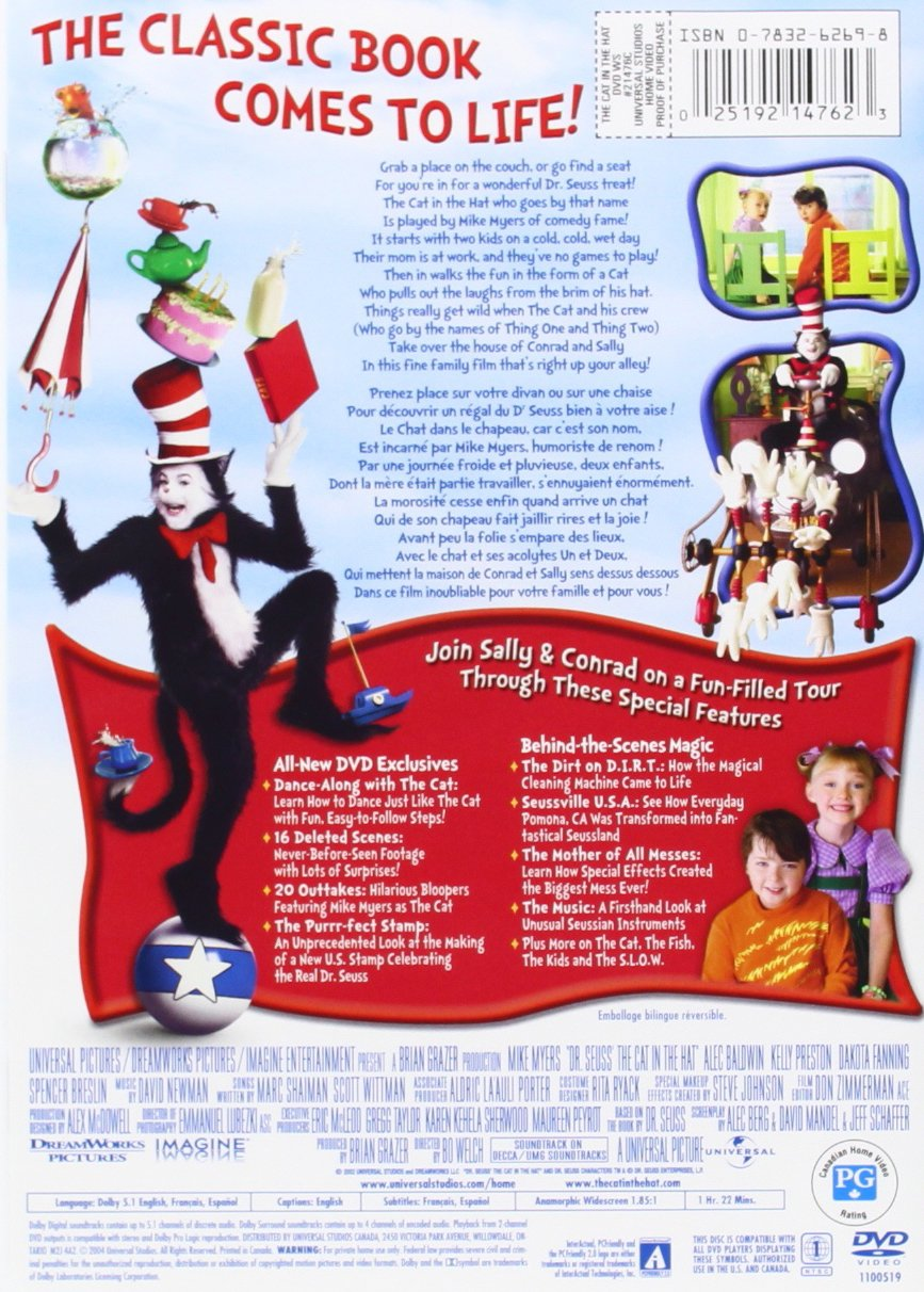 Amazon Dr Seuss The Cat In Hat Widescreen Edition Mike Myers Kelly Preston Alec Baldwin Dakota Fanning Spencer Breslin Sean Hayes