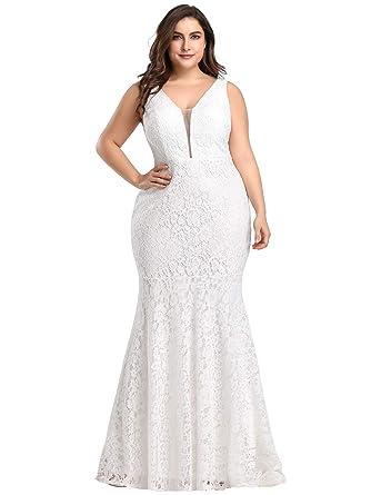 Ever Pretty Women s Elegant Long Mermaid Style V Neck Long Lace Wedding  Party Dress White UK bfd2310ce
