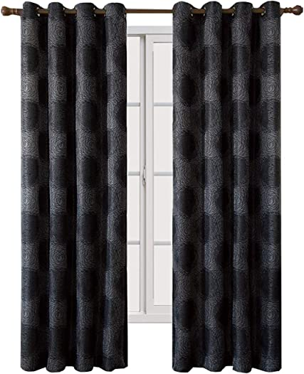 Royal Hotel Lexington Black Grommet Jacquard Window Curtain Panel