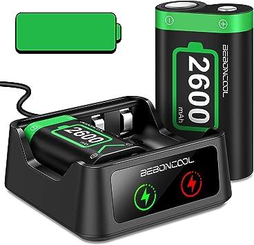 BEBONCOOL - Batería para mando Xbox One (2 baterías recargables de 2600 mAh, recargables, para Xbox One, Xbox One X, Xbox One S, Xbox One Elite Controller: Amazon.es: Electrónica
