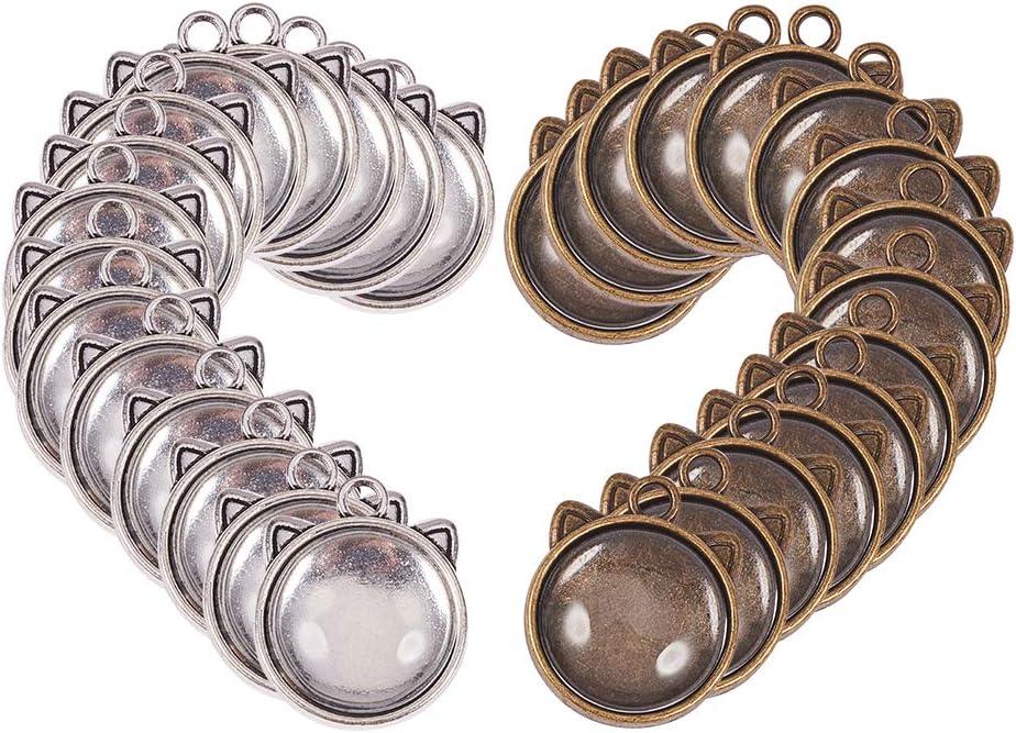 40pcs alliage triangle pendentifs anneau breloques pour fabrication de