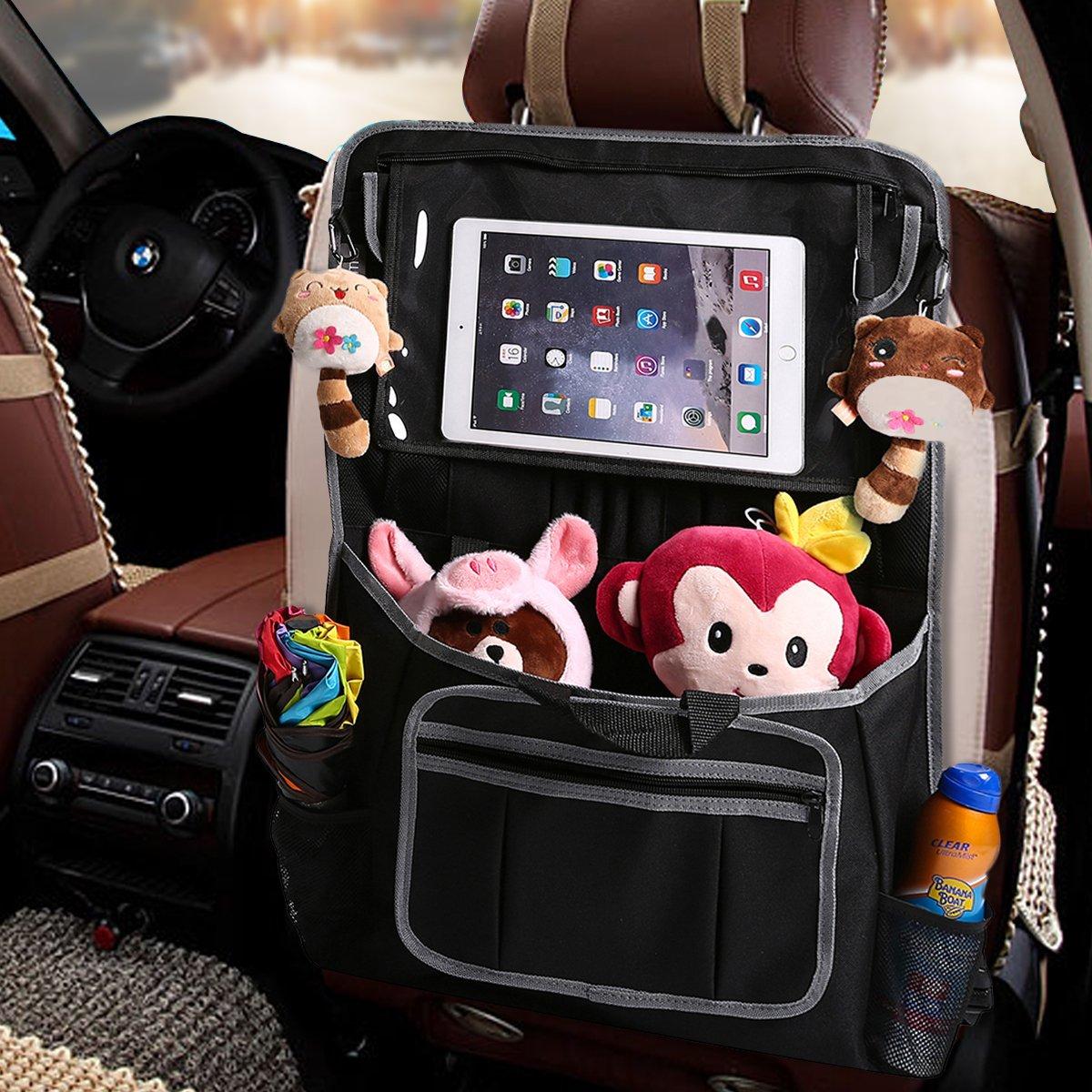 Auto Organizer f/ür Baby Papierhandt/ücher 61 x 43cm 600D Oxford-Tuch f/ür Zeitschriften GEMITTO Auto R/ückenlehnenschutz Kinder Spielzeug Lagerung mit Gro/ße Taschen und Durchsichtigem iPad