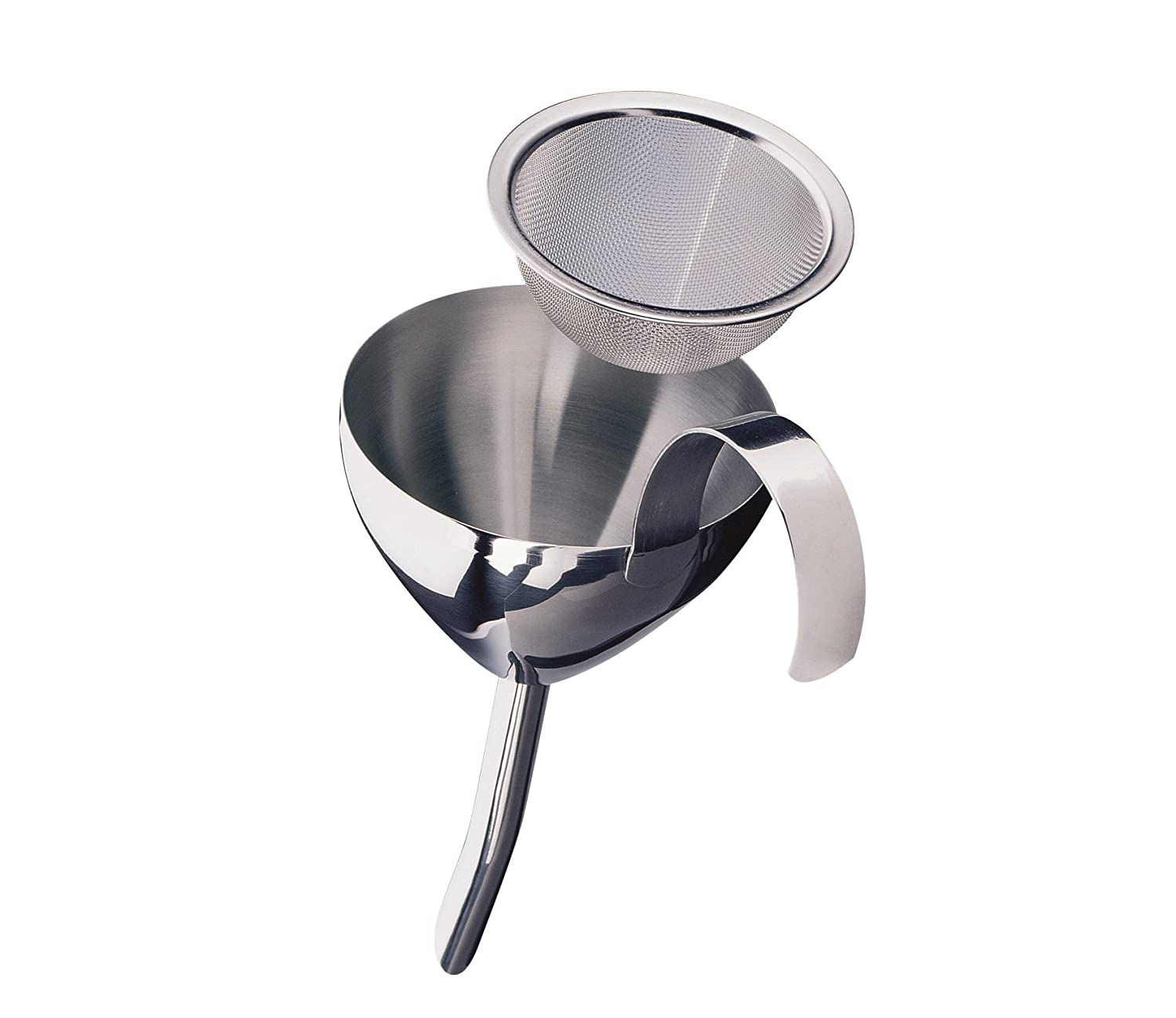 Cilio Stainless Steel Wine Funnel with Strainer, Silver C200607