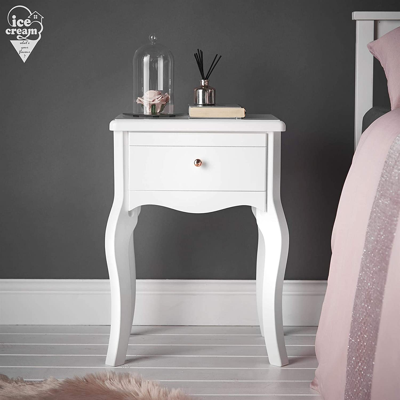 Mesita de Noche Blanca con caj/ón Perilla de Oro Rosa Dise/ño Vintage para decoraci/ón del hogar del Dormitorio Sorrento
