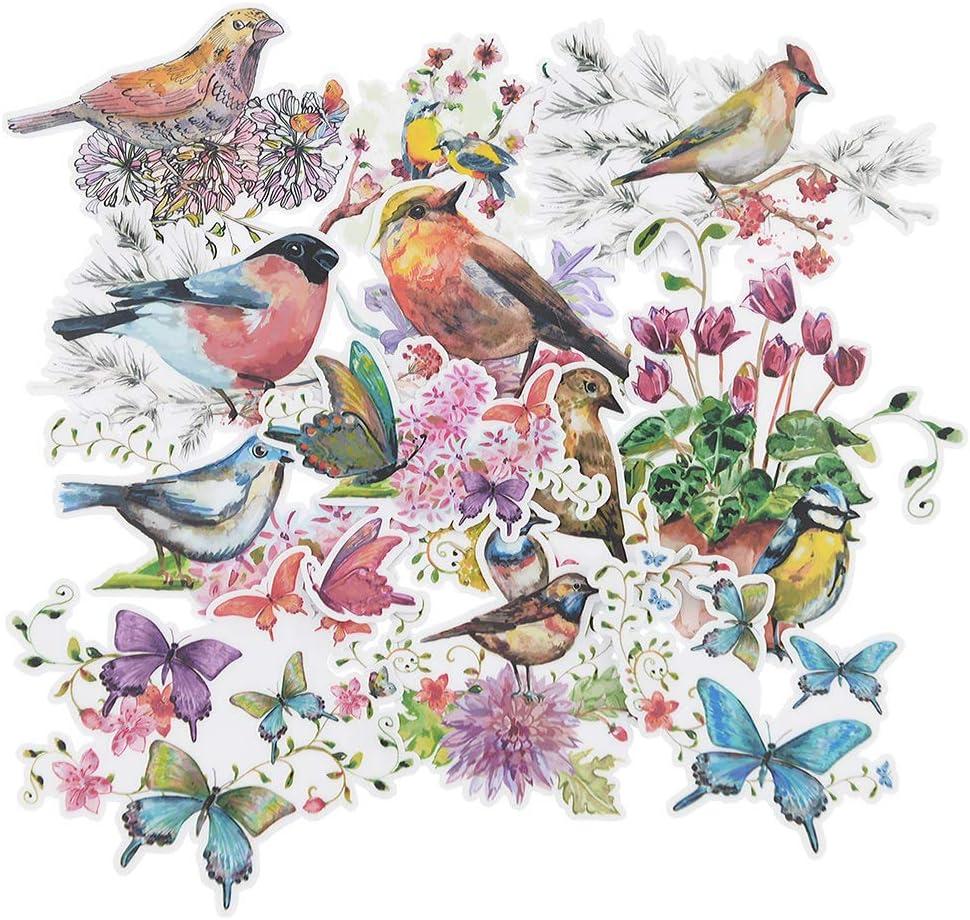12 Pieces Watercolor Birds Flowers Butterfly Waterproof Stickers for Laptop, Water Bottles, Fridge, Daily Planner, Junk Bullet Journal, Scrapbook