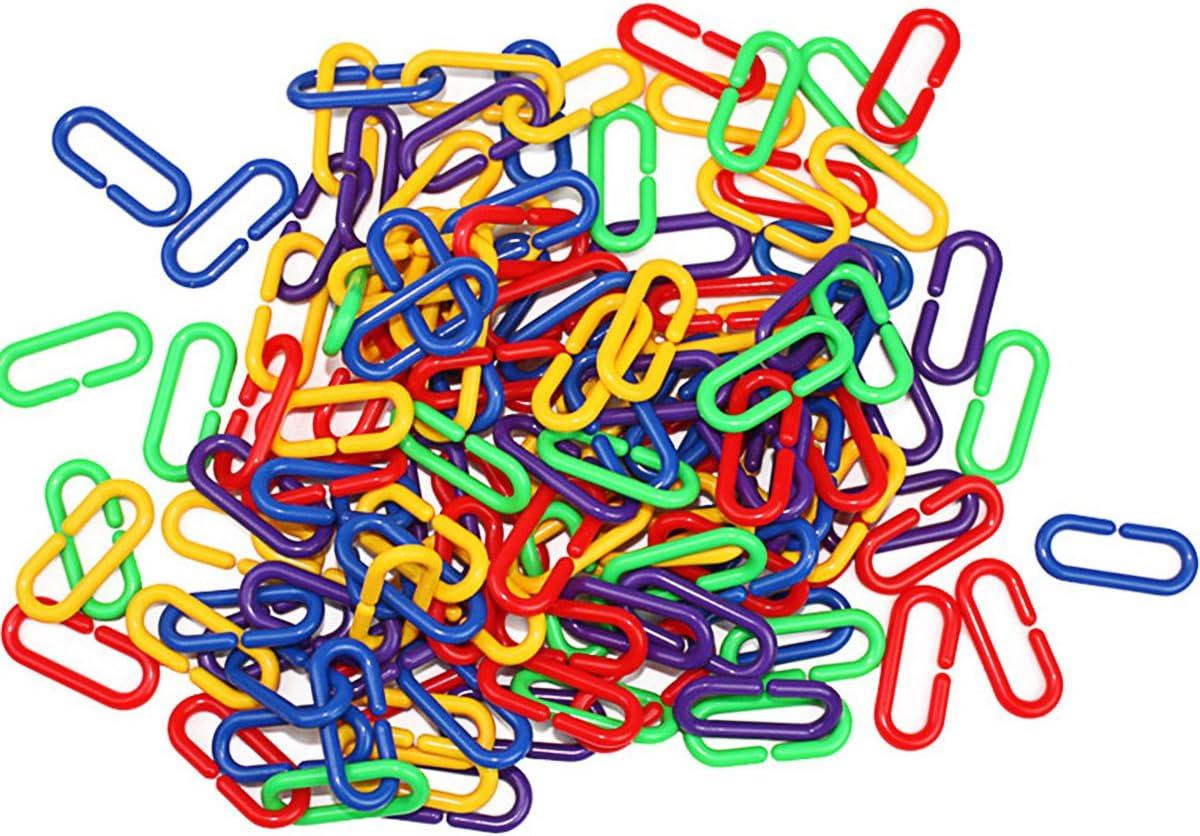 UEETEK 100 Piezas DIY Plástico C-Clips Ganchos Enlaces de Cadena C-Links Parrot Bird Toys