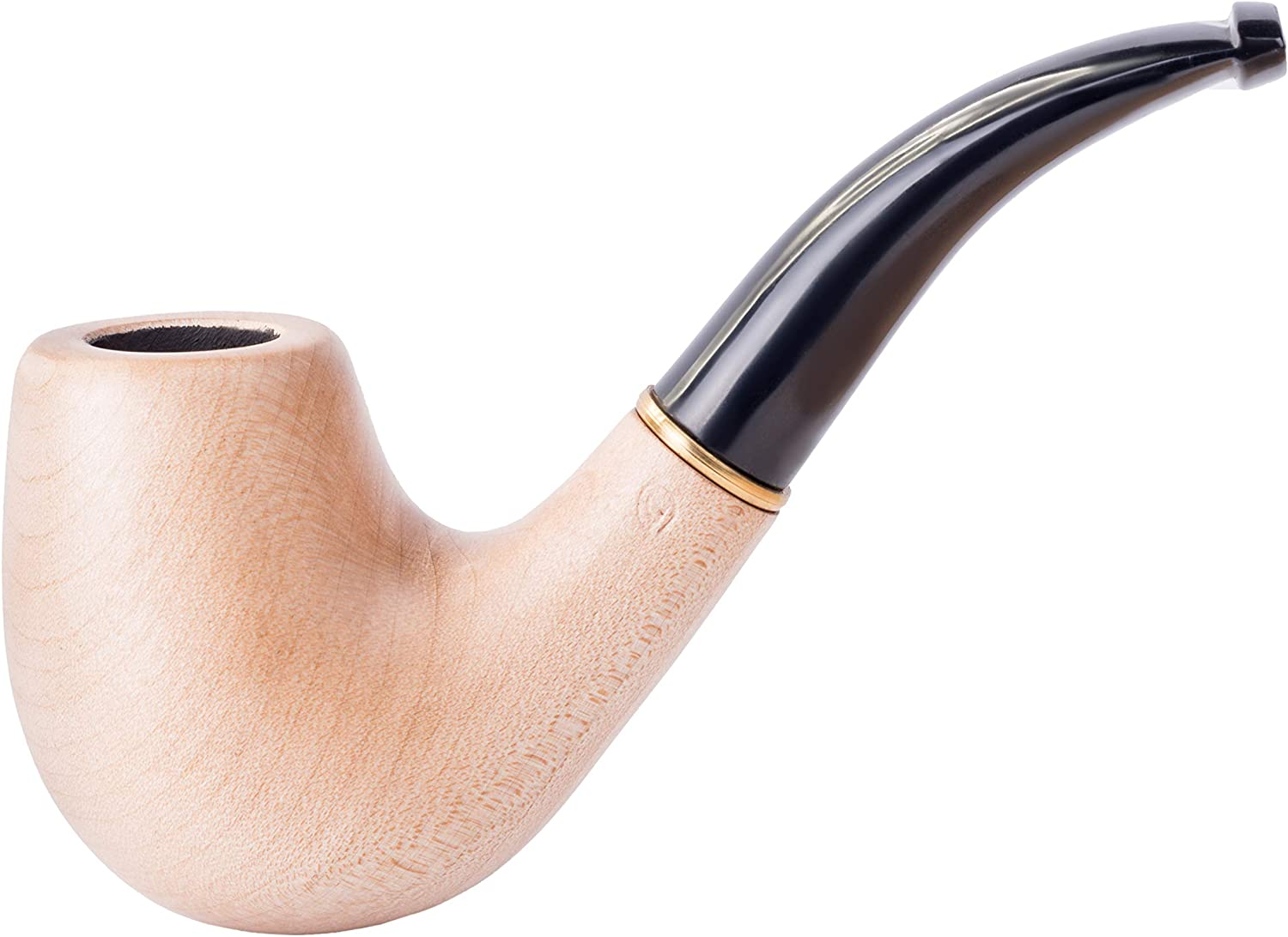 Dr. Watson - Wooden Tobacco Smoking Pipe, Hand Carved, Fits 9mm Filter, Comes with Pouch, Boxed (Classic, White)
