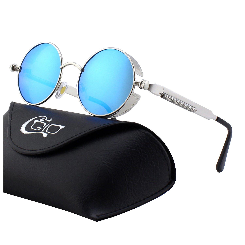 138b0beb60 Galleon - CGID E72 Retro Steampunk Style Inspired Round Metal Circle  Polarized Sunglasses For Women Men