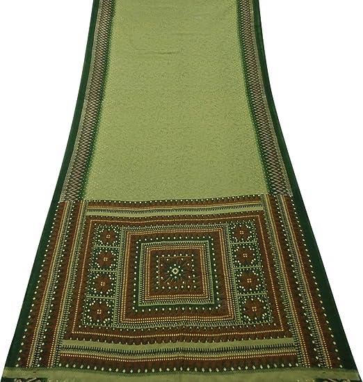 PEEGLI Mujer Indio Étnico Verde Vintage Vestido Seda Mezcla DIY Arte Paño Casual Vestir Sarong Envolver