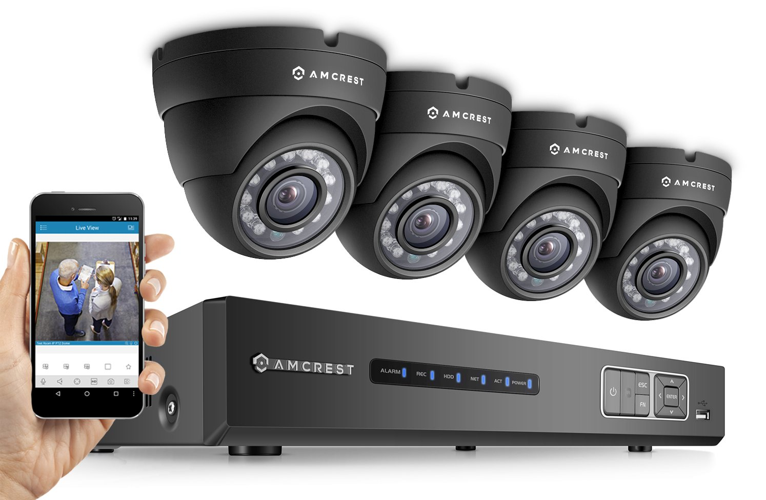 Amcrest ProHD 720P 4CH Video Security System - Four 1.0-Megapixel (1280TVL) Outdoor IP67 Dome 1TB HDD, Night Vision, Remote Smartphone Access, Black Mid (AMDV7204M-4D-B)