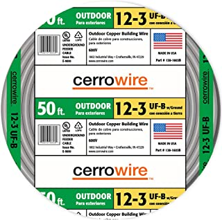 product image for CERRO 138-1603BR 50-Feet 12/3 UF with Ground Wire, Grey, Foot