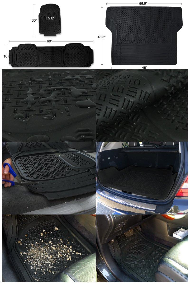 Spec-D MAT-4201BLK Black All Weather Floor Mats 5pcs by Spec-D Tuning (Image #1)