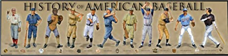 History of American Baseball Framed Posters & Prints | Historical MLB Wall Art Gifts & Bedroom Decor Poster for Sports Enthusiast & Vintage Artwork Collectors | Iconic Timeline & Fan P...