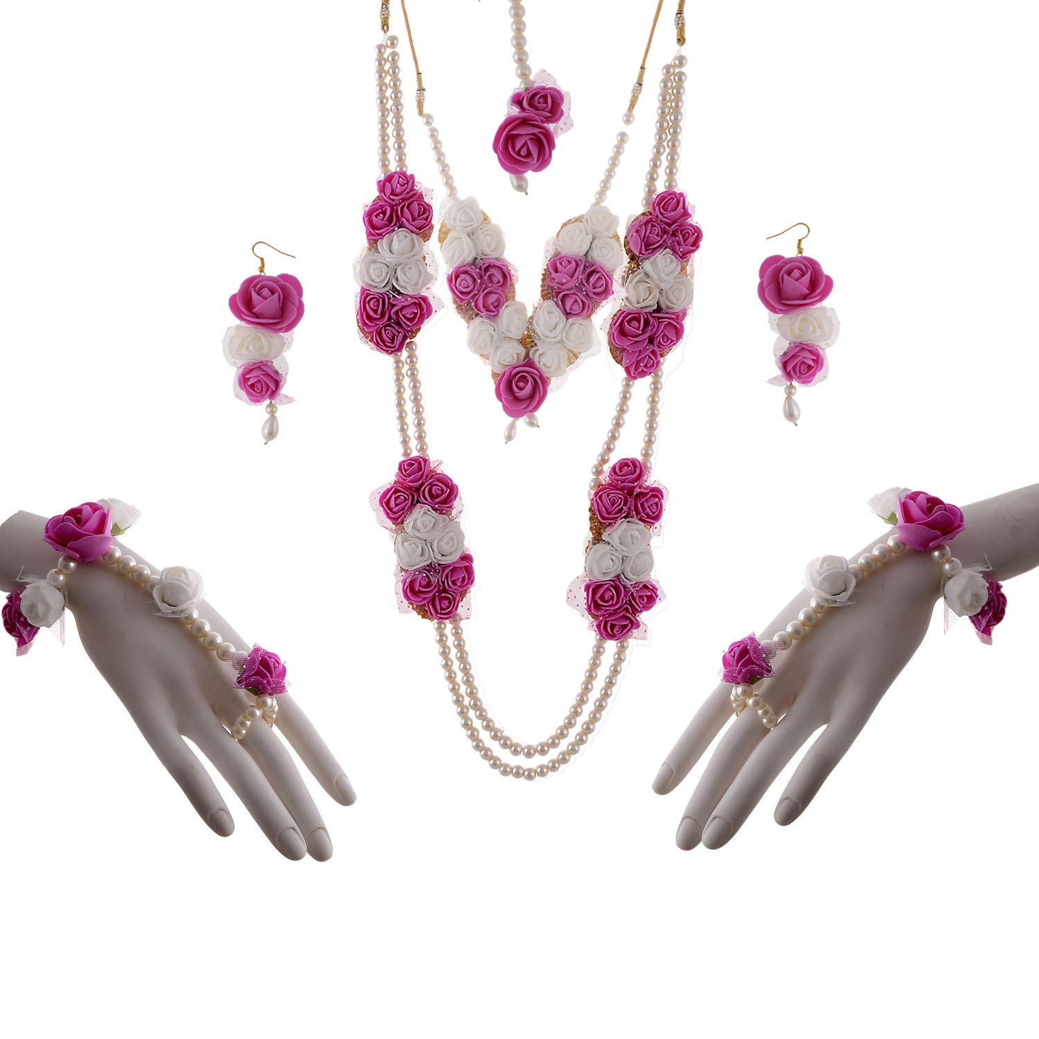 Buy Alicia Floral Jewellery Pink White Color Foam Flower Necklace
