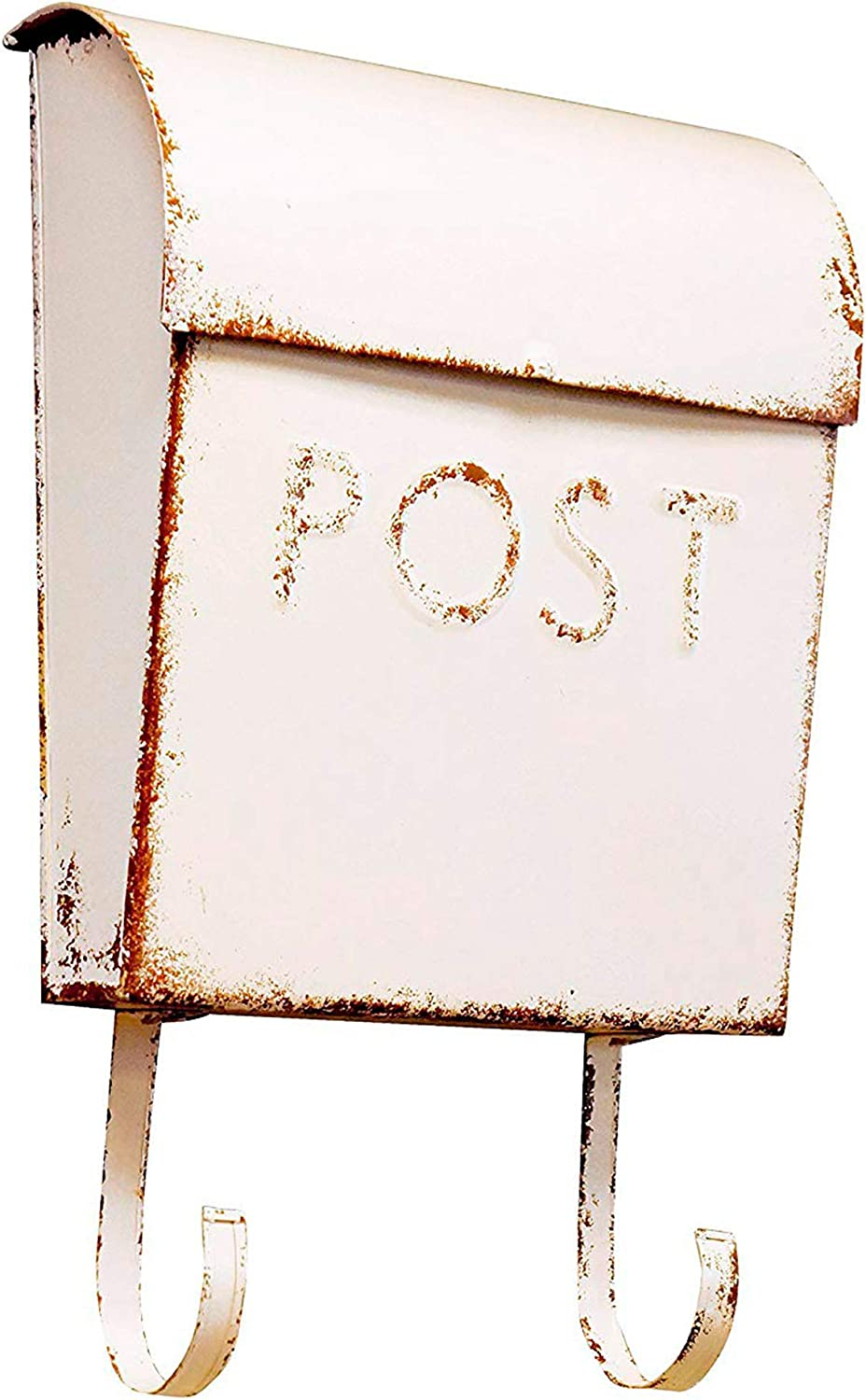 NACH TH-15658 Wall Mounted Euro Aged Rustic Mailbox with Newspaper Holder, Rustic Cream, 13 x 10.8 x 4.1 Inches