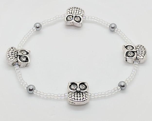 38907ceaa5c4 Amazon.com  Owl Beaded Bracelet with glass beads