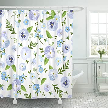 Amazon TOMPOP Shower Curtain Blue Pansy And Forget Me Not