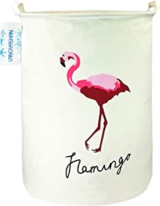 LANGYASHAN Storage Bin,Canvas Fabric Collapsible Organizer Basket for Laundry Hamper,Toy Bins,Gift Baskets, Bedroom, Clothes,Baby Nursery(Rould Single Flamingo)