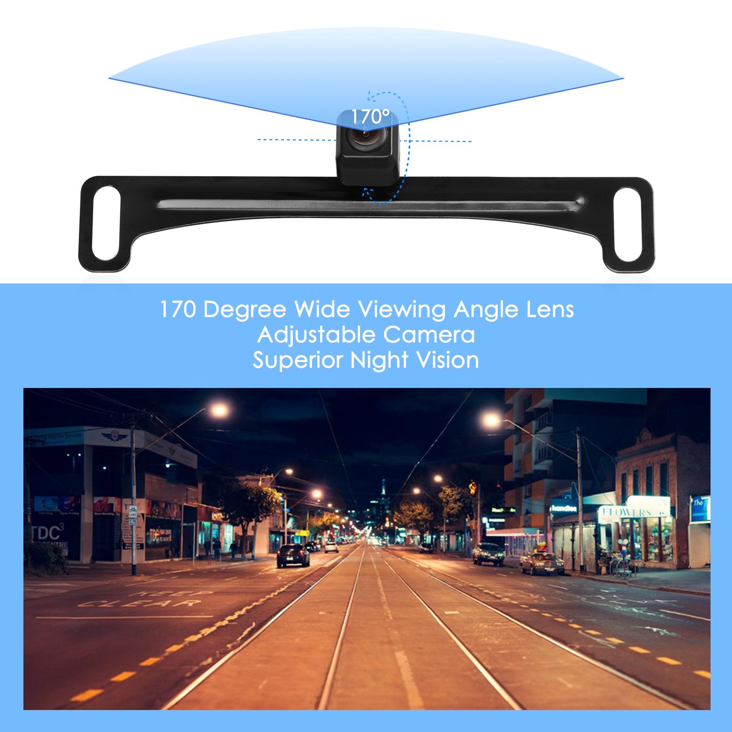 AUTO-VOX HD Car Rear View Backup Camera Waterproof License Plate Camera Reverse Parking Monitor Kit with 170 Degree Wide Angle for Truck&RV,High Compatibility by AUTO-VOX (Image #2)